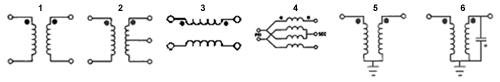 Схемы широкополосных трансформаторов Synergy (слева - направо: 1-6)